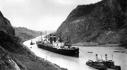 The SS Kroonland crossing the Panama Canal, February 1915